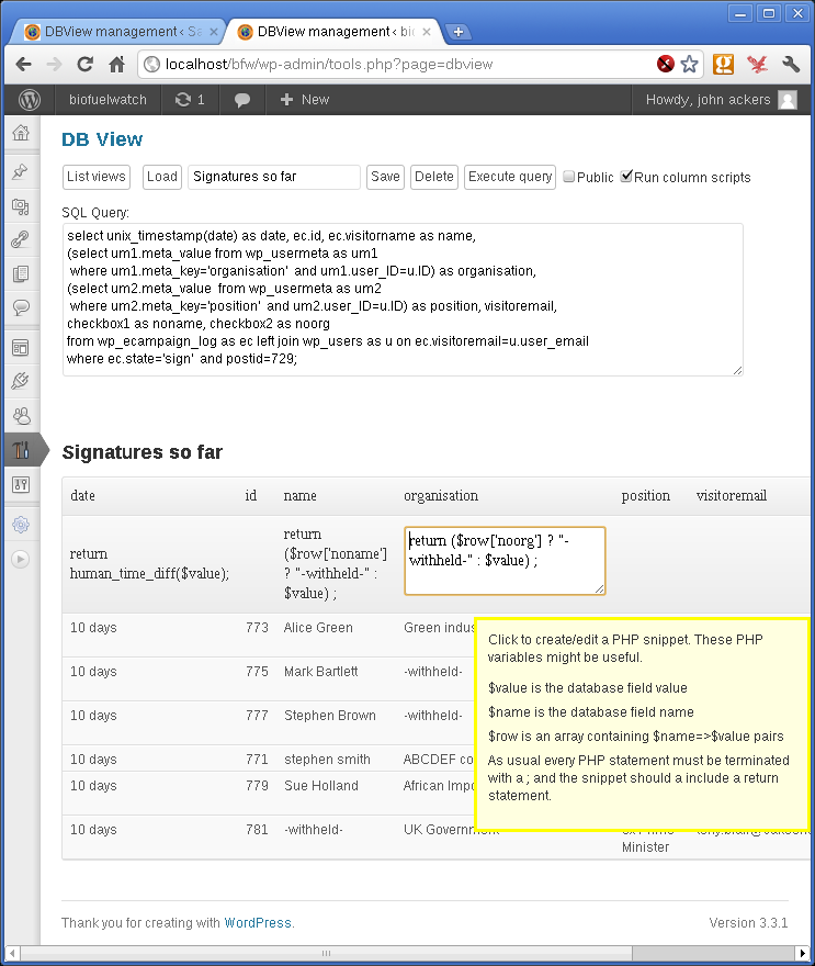 screenshot-2.png - the admin screen showing an arbitrary view 'signatures so far'.