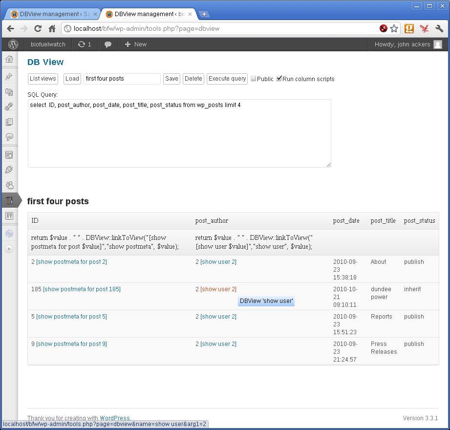 screenshot-3.png - the admin screen showing one view containing links to other views.
