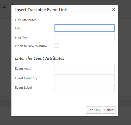WP TinyMCE Editor window with link builder.