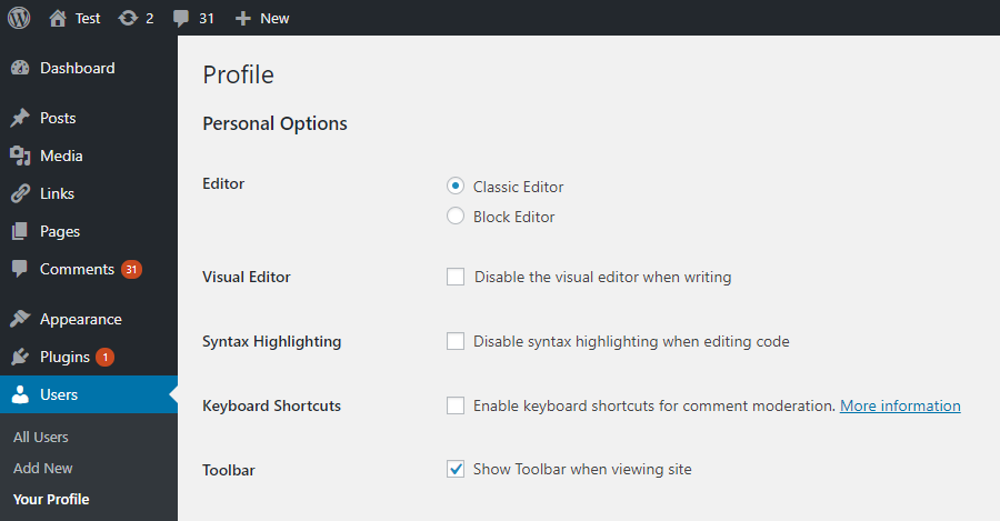 User settings on the Profile screen. Visible when the users are allowed to switch editors.