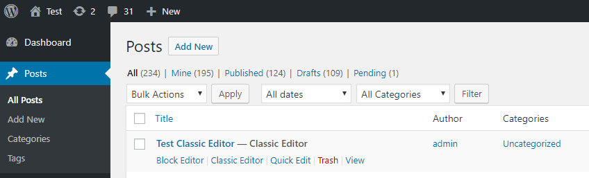 """Action links"" to choose alternative editor. Visible when the users are allowed to switch editors."