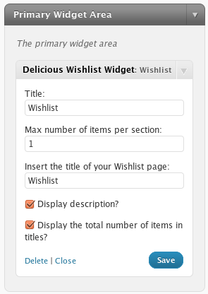 delicious-wishlist-for-wordpress screenshot 2