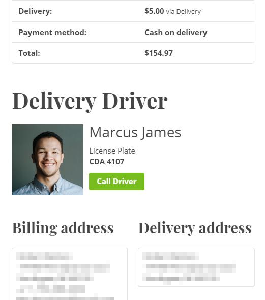 Delivery Driver information displayed on customer's order details page