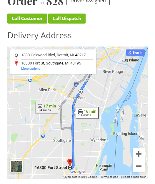 Google Maps Directions for delivery driver from Store address to Customer address