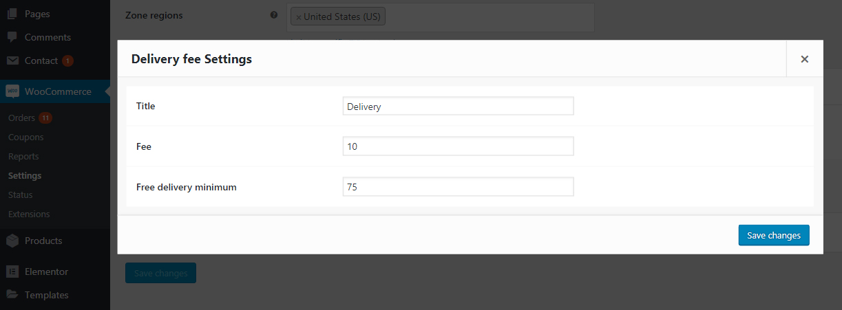 DFWC Delivery Fees Shipping Method options