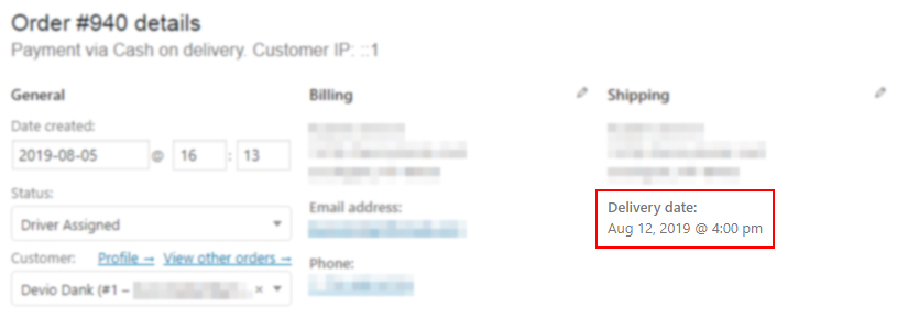 Delivery date & time added to WooCommerce admin Order details screen