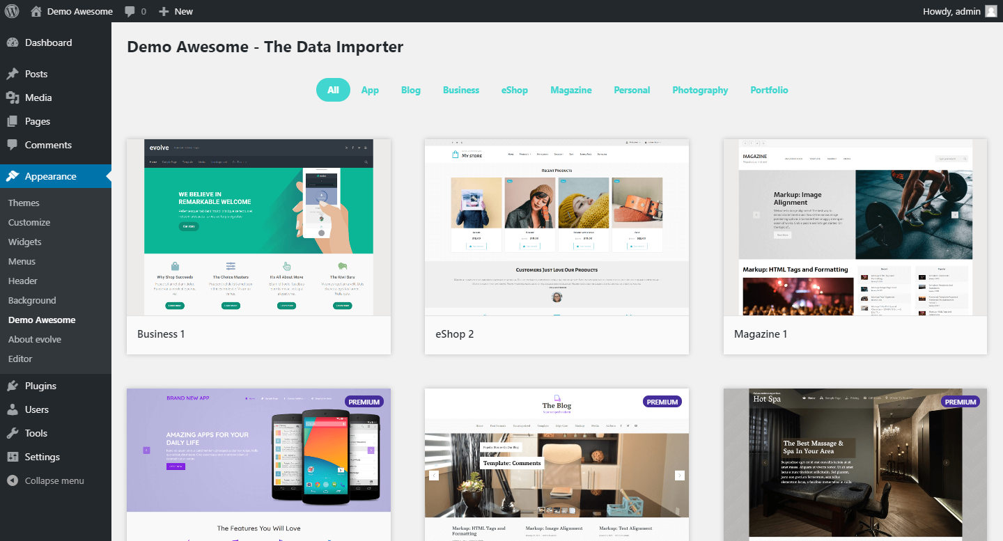Main page of the demo importer - demo browser