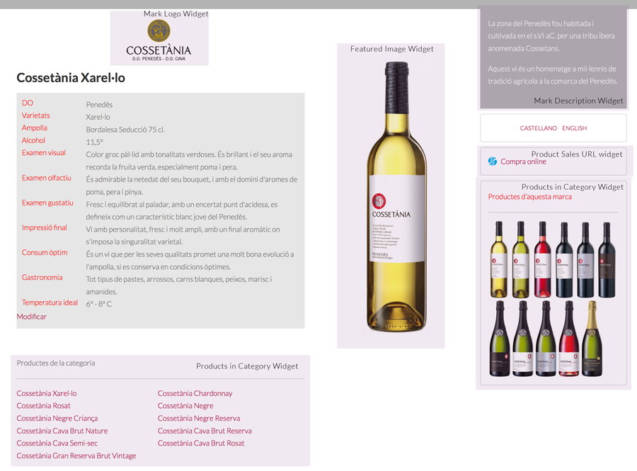 The widgets marked on a product page from Castell d'Or winery.