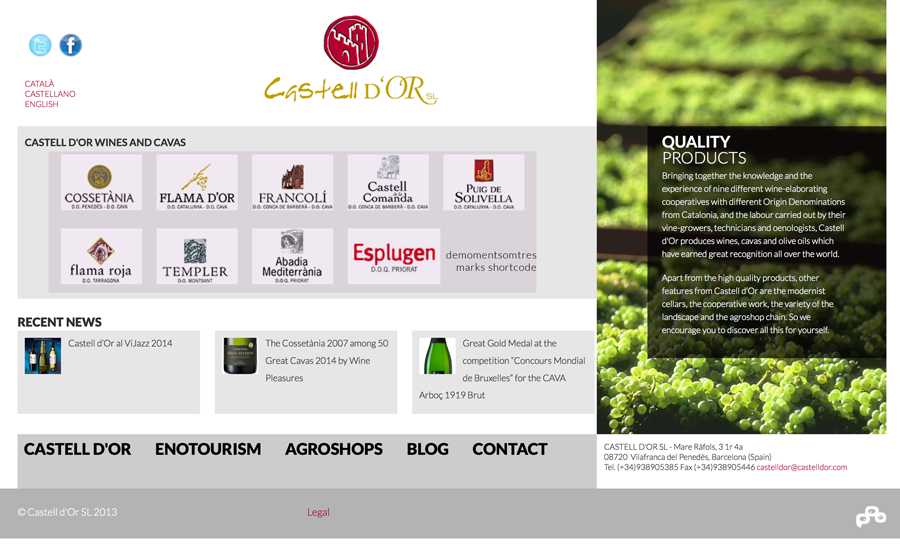 Shortcode result in Castell d'Or winery's homepage.