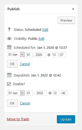 Publish box (expanded)