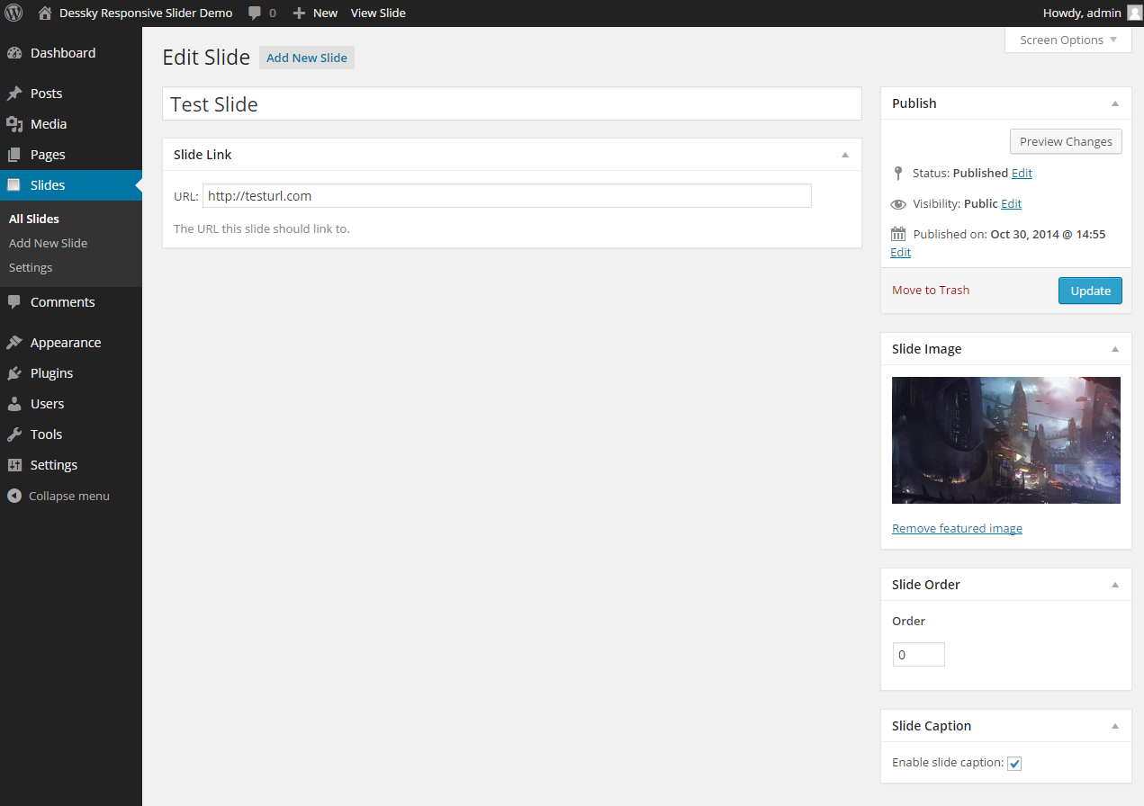 'Edit Slide' page