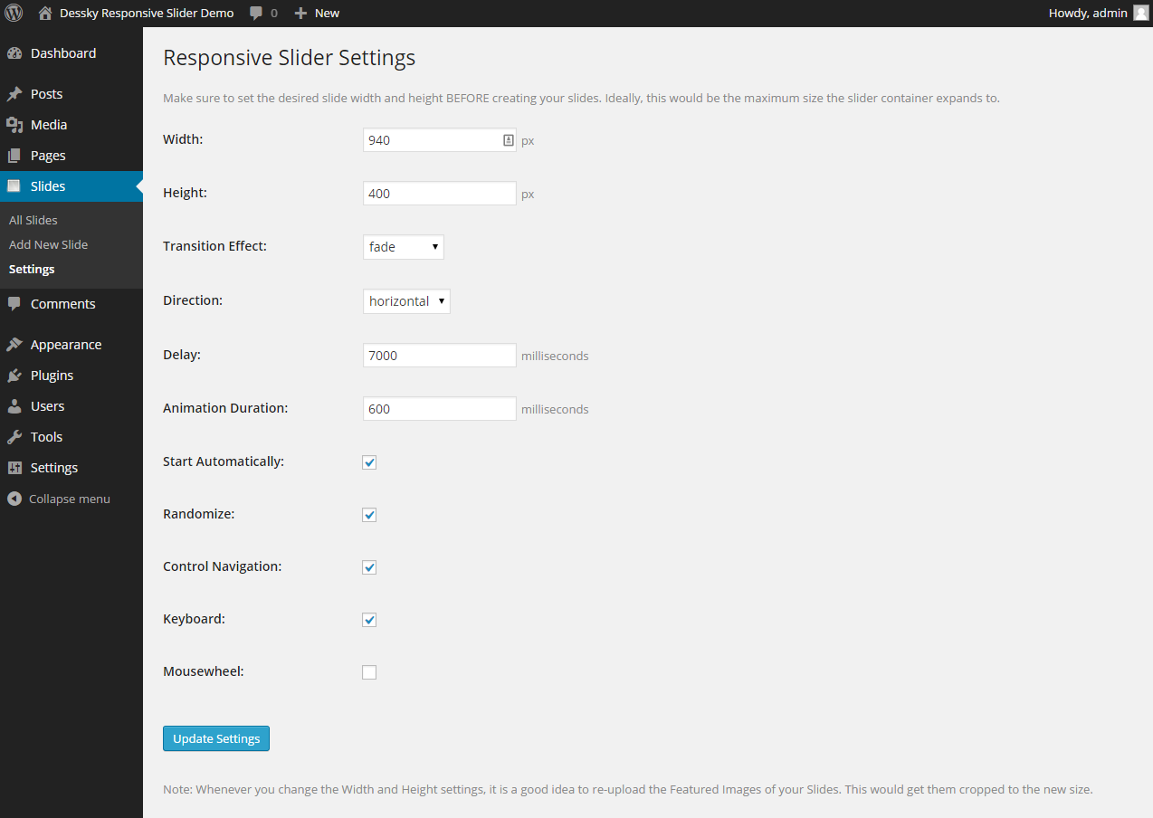'Dessky Responsive Slider Settings' page.