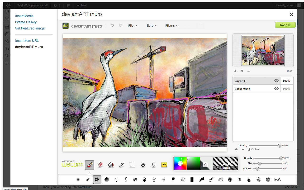 """The """"Add Media"""" panel contains an embedded deviantART muro that allows you to draw directly into WordPress."""