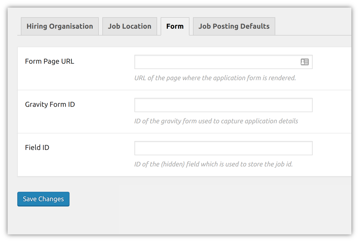 Gravity forms integration default settings. (For job application entries)