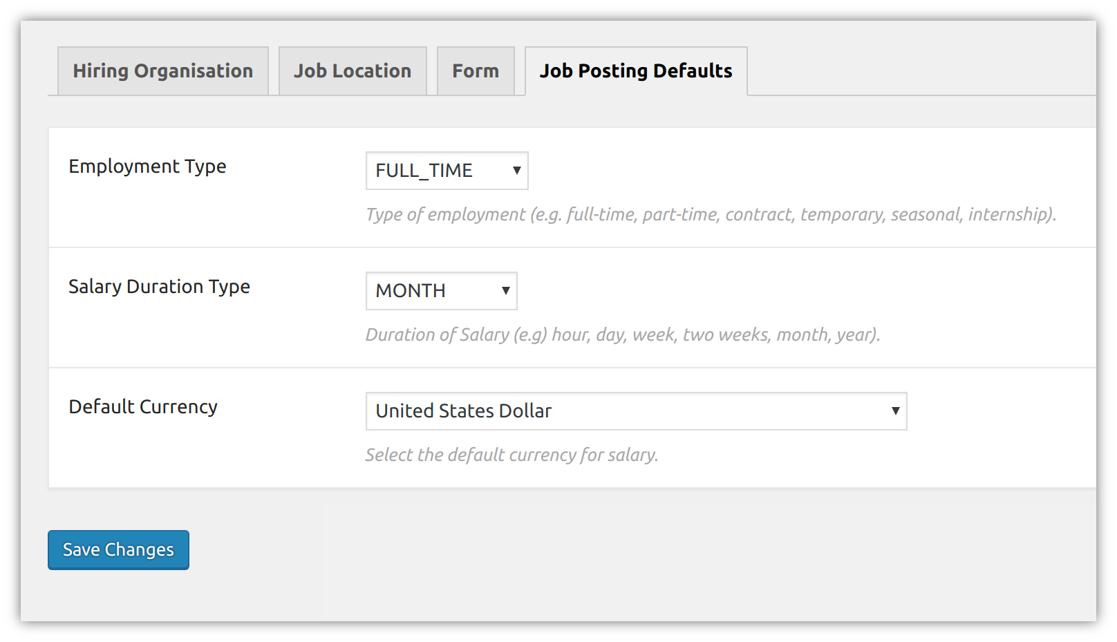 Job field default settings.