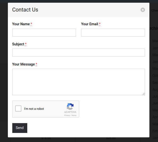Screenshot of Dialog Contact Form on Dialog.
