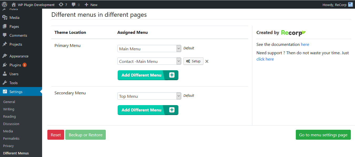 Different Menu in Different Pages – Control Menu Visibility