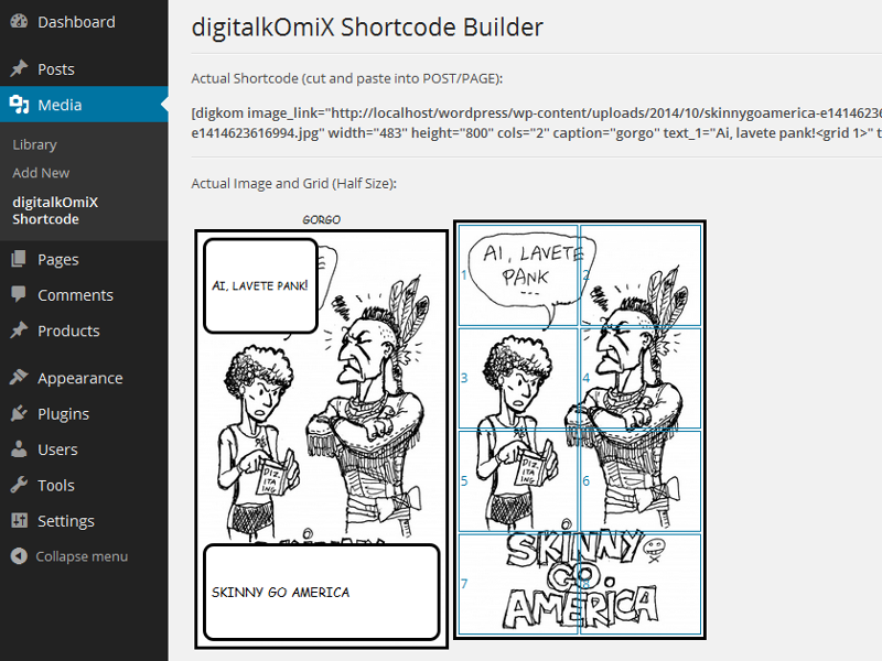 Shortcode Builder settings page. On top actual shortcode, below preview of the comic frame and the grid.