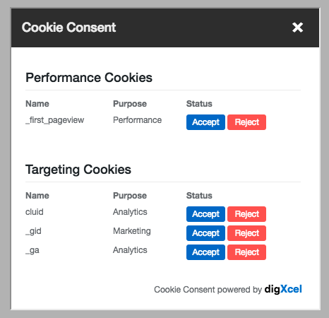 Cookie consent dialog
