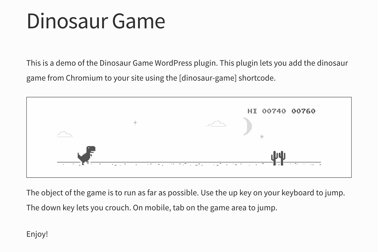 A demo of the dinosaur game in a post.