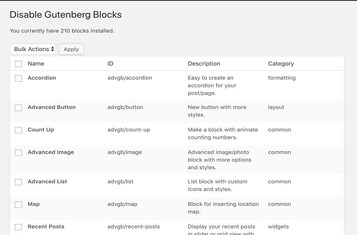 Disable Gutenberg Blocks