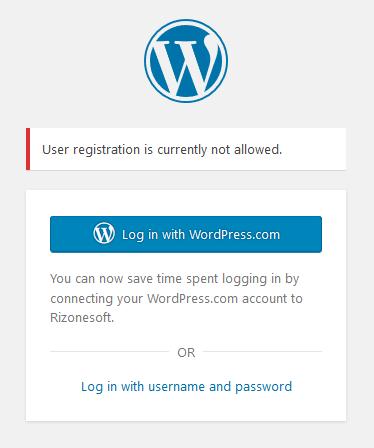 Default WordPress registration page disabled!