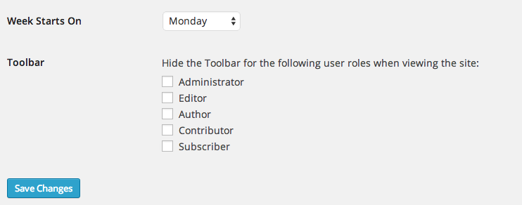 The Disable Toolbar option in Settings > General