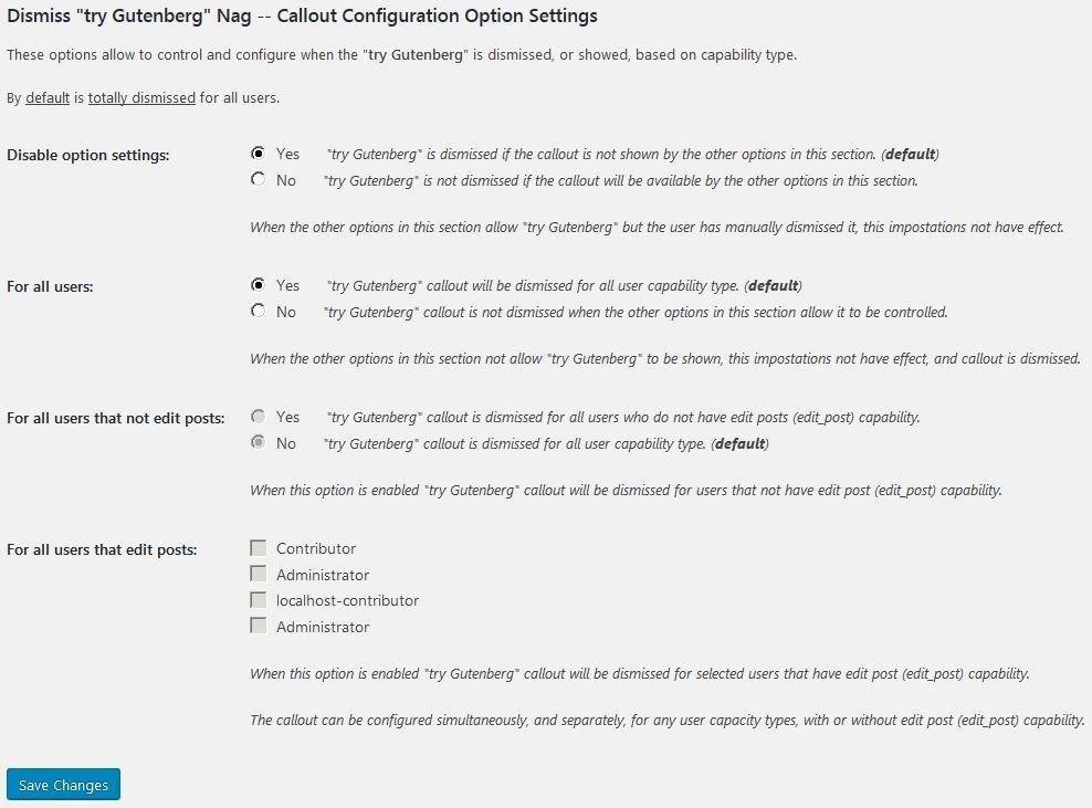 Option Settings Page - Screenshot 3 of 6