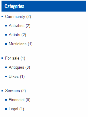 Display categories with number of posts inside them
