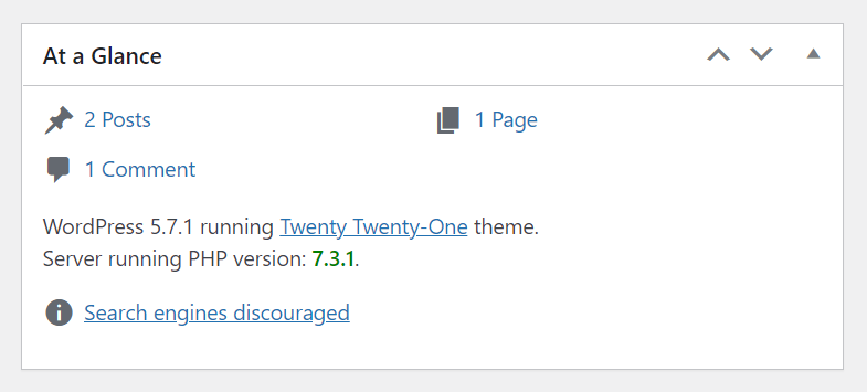 """Display the currently installed PHP version in the """"At a Glance"""" admin dashboard widget."""