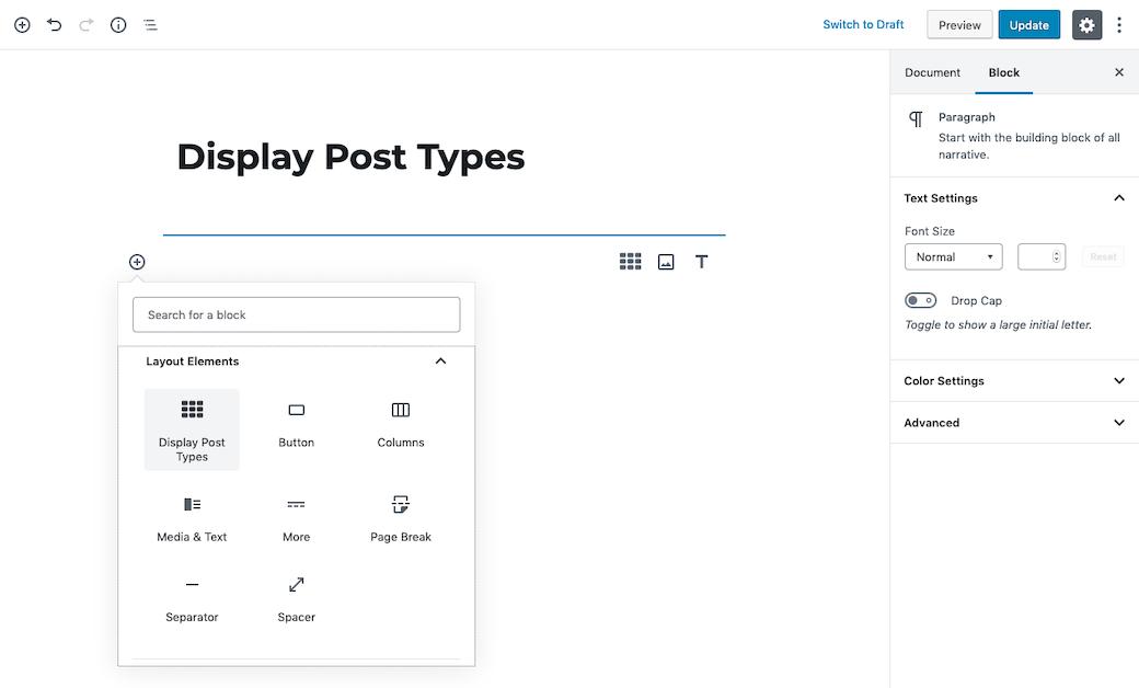 Display post types block initiate.