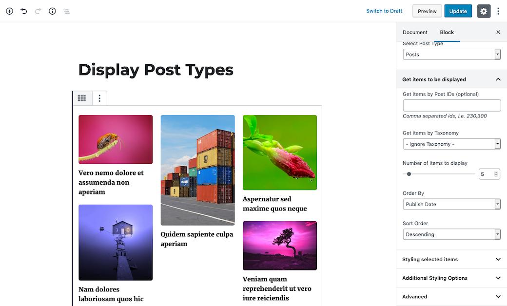 Display post types block use.