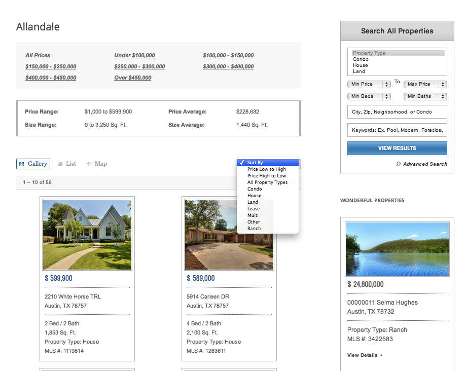 Insert basic statistics, a map of the listings, and a list of real estate listings into any page or sidebar.