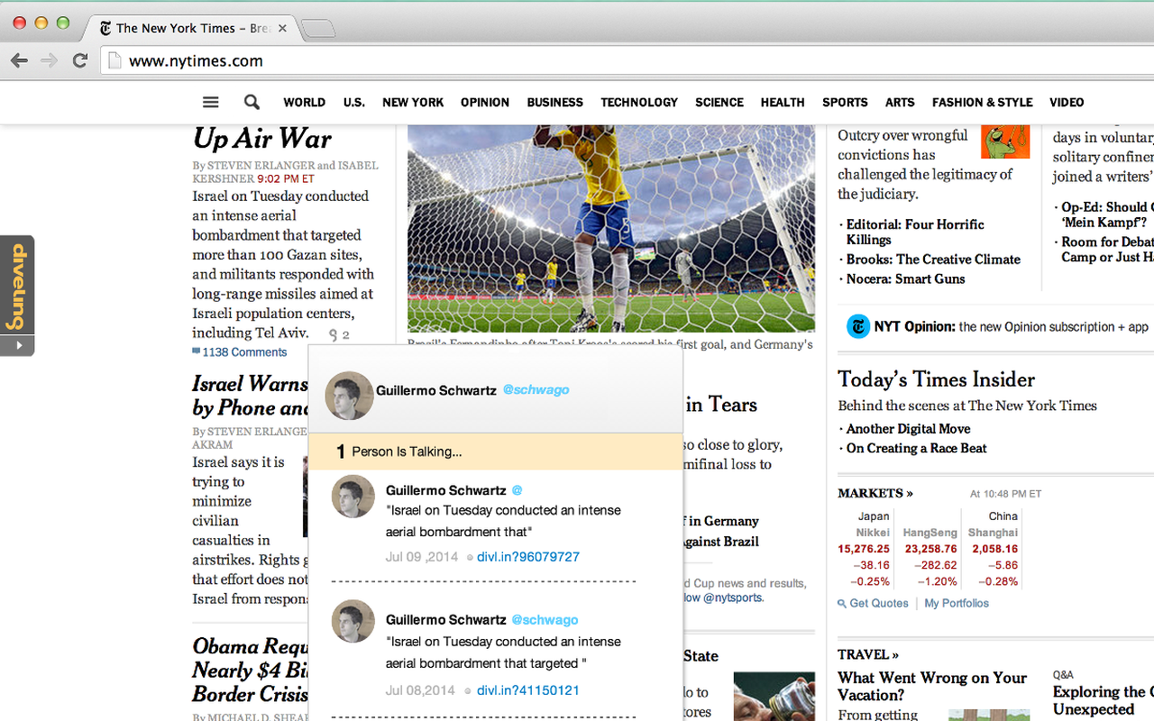 Users can see their annotation inline with other Diveling user's who commented on the same body of text.