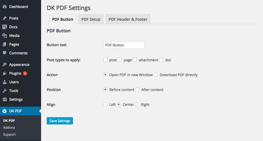 PDF Button settings