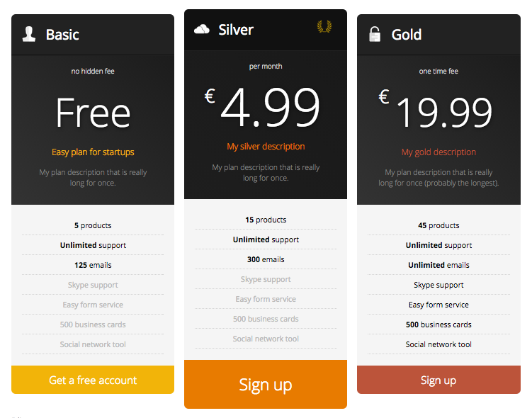 Displaying the pricing table (front view)