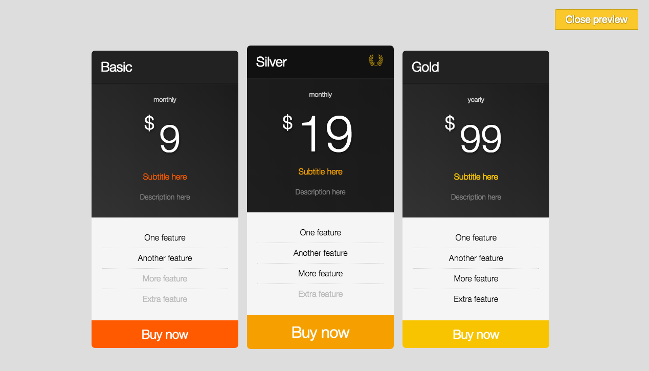 Creating a pricing table 2 (admin view)