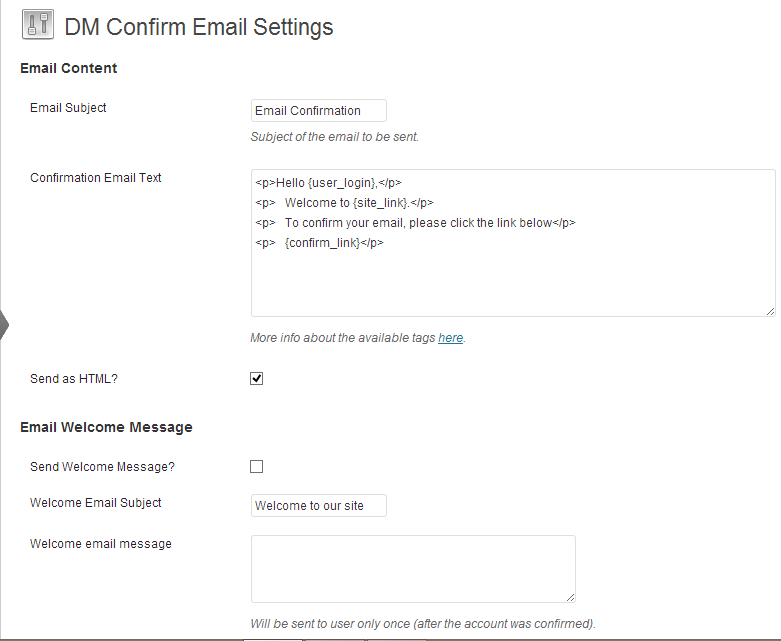 DM Confirm Email settings