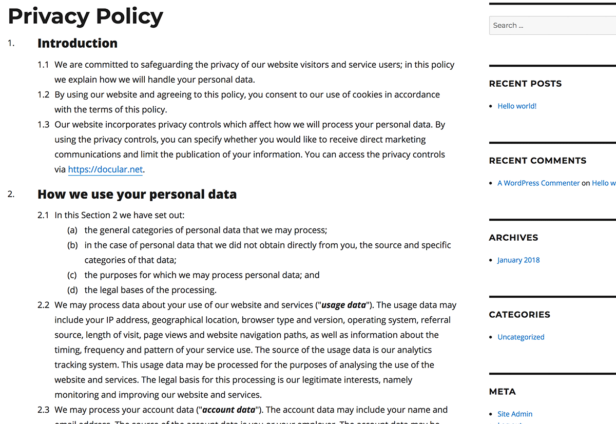 Your privacy policy, terms and conditions, and other documents display perfectly on your site.