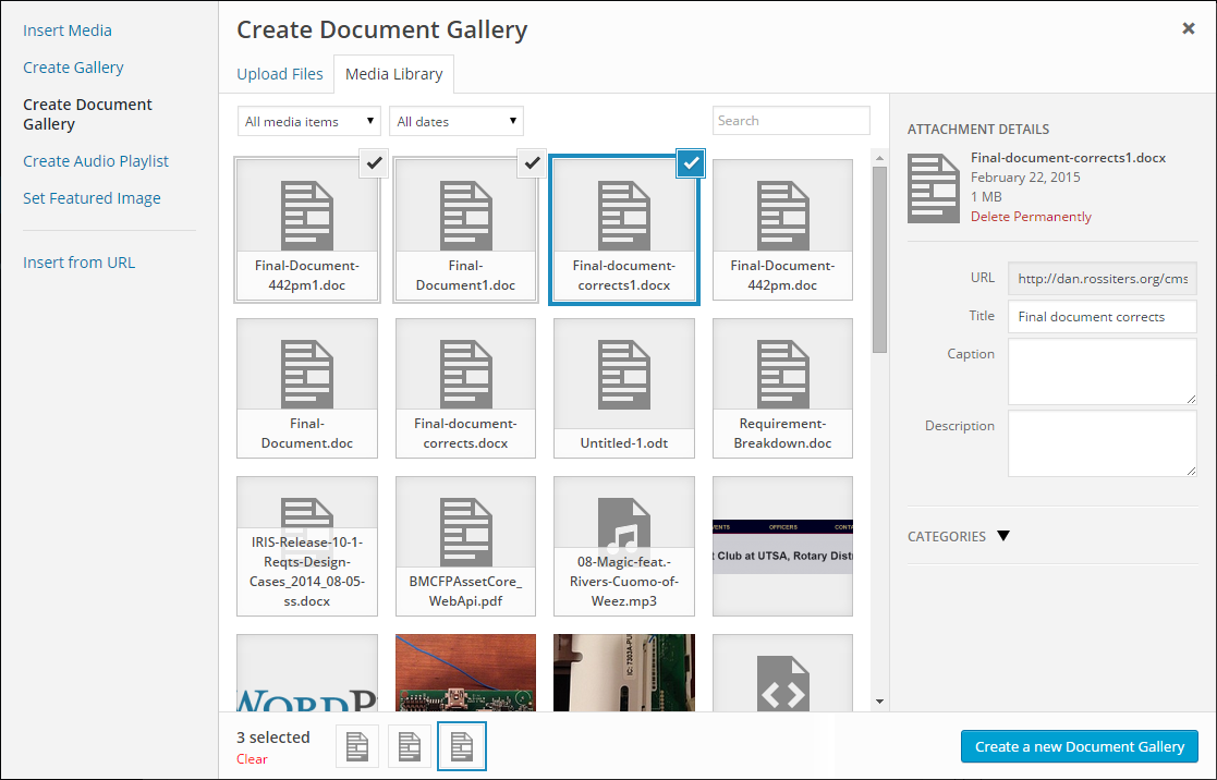 Document Gallery integrates directly with the WordPress Media Manager.