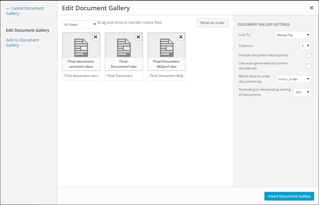 The common configuration options are directly accessible through the Media Manager interface, but additional configuration can be manually added to the generated shortcode.