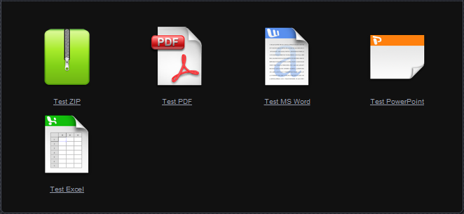 This is how the Document Gallery looks with <code>descriptions=false</code> (default). Note that the display inherits styling from your active theme.