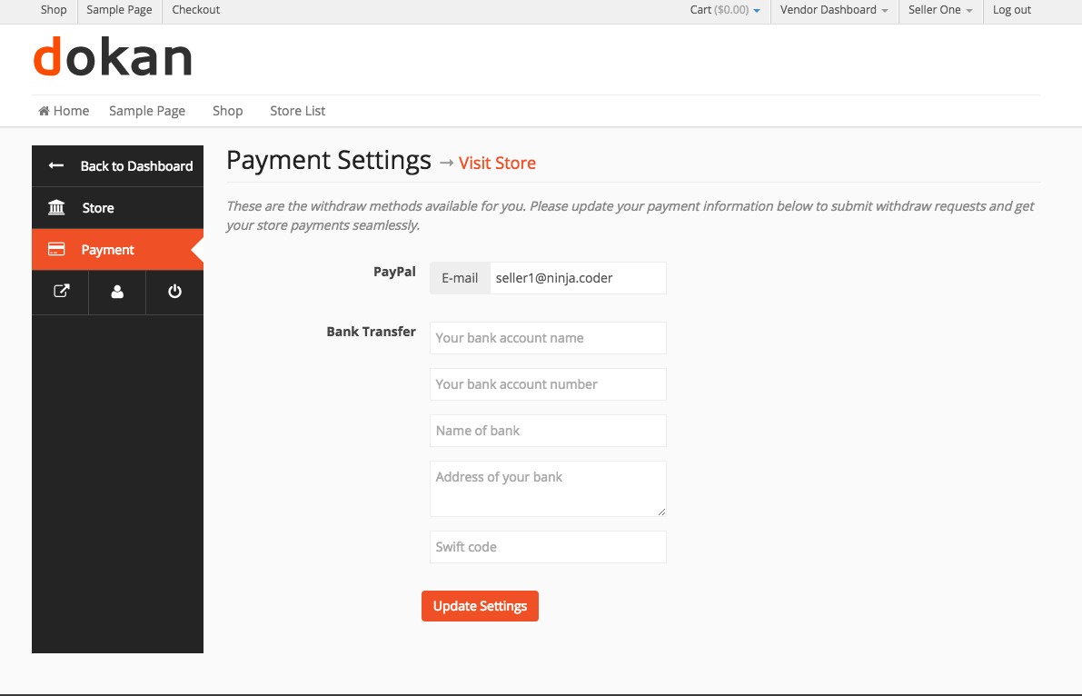 Frontend → Store Payment Settings