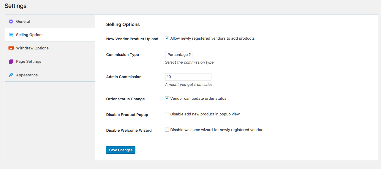 Settings → Selling Options
