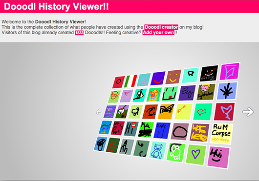 The Flash Dooodl History viewer (using Shadowbox to view it as a dialog on your current page).