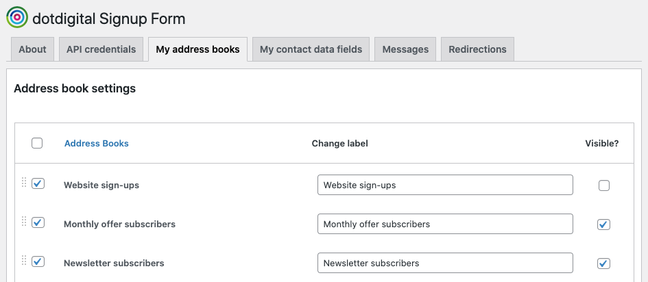 Changing address book visibility
