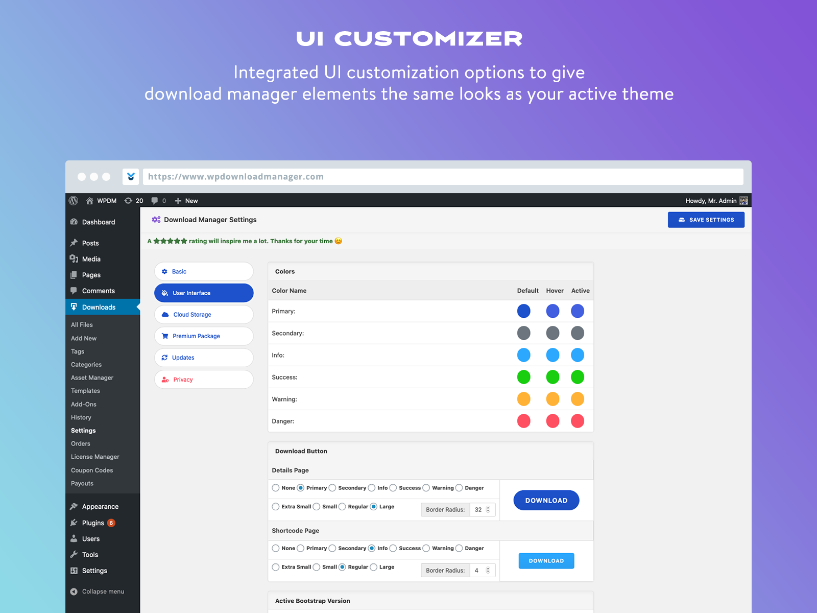 UI customizer
