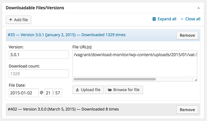 version management of the downloadable files in the wordpress download monitor plugin