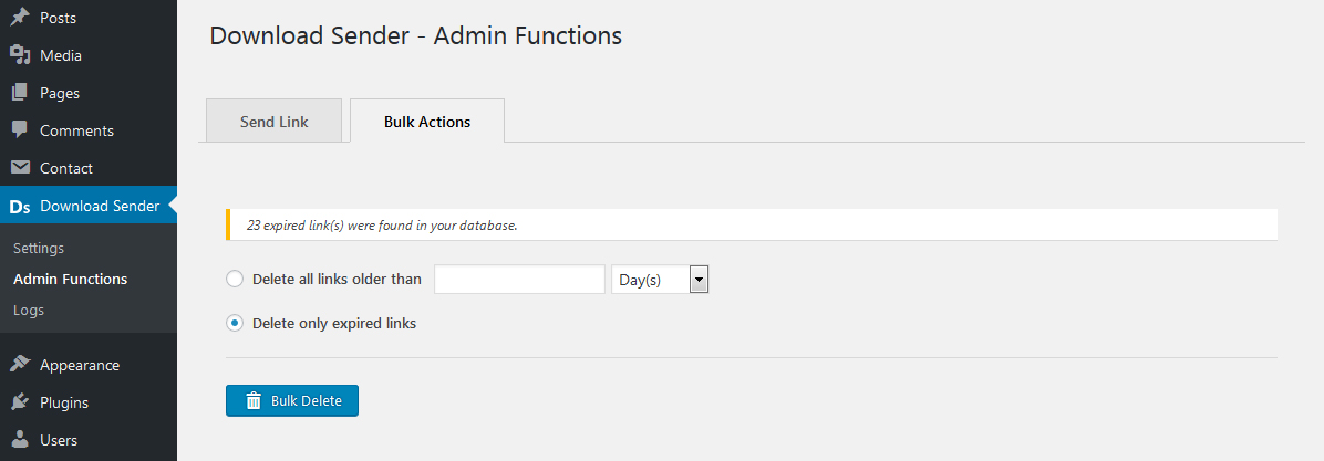 Admin functions Menu