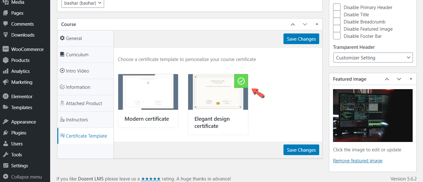 Change course specific certificate template